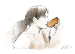 Mujer bebiendo | IDU Ilustración