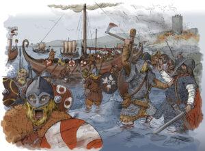 Desembarco vikingo en Catoira (Galicia) | IDU Ilustración