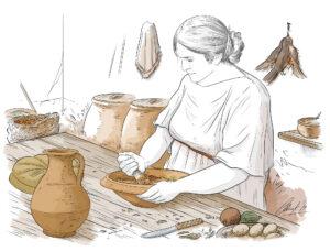 Cocinera. Villa romana de Vinamargo (Castelló) | IDU Ilustración