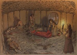 Ritual funerario en un tholos de Los Millares | IDU Ilustración