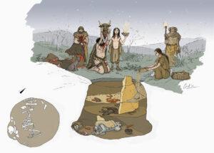 Ritual de enetrramiento en hoyo (Cortecampo II-Navarra) | IDU Ilustración