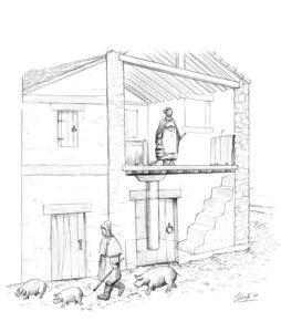 Interior de una casa medieval | IDU Ilustración