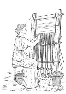 Mujer romana y telar | IDU Ilustración