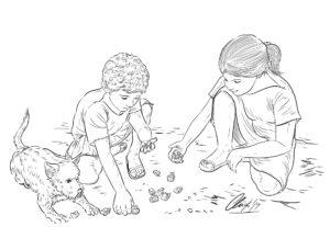 Niños romanos jugando a tabas | IDU Ilustración