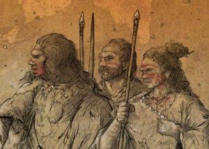 Grupo cazador neanderthal | IDU Ilustración